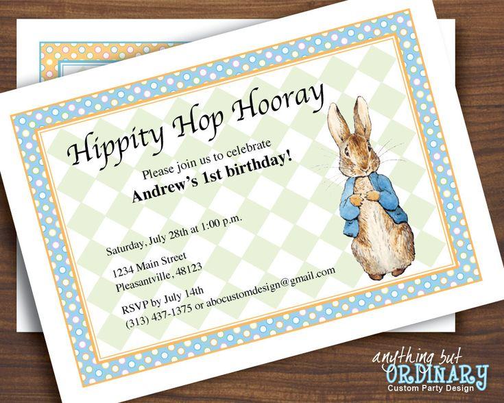 Peter Rabbit DIY First Birthday Invitation by ABOcustomDesign, $12.00