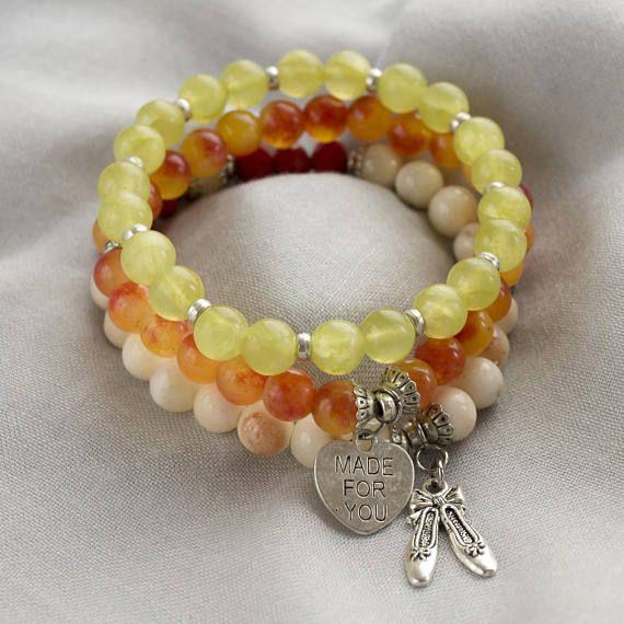 Sunny gemstone stretch bracelet set of 3 summer beaded #braceletset #beadedbracelet #summerbracelet #stackbracelet #charmbracelet #stackablebracelet #beadbracelet