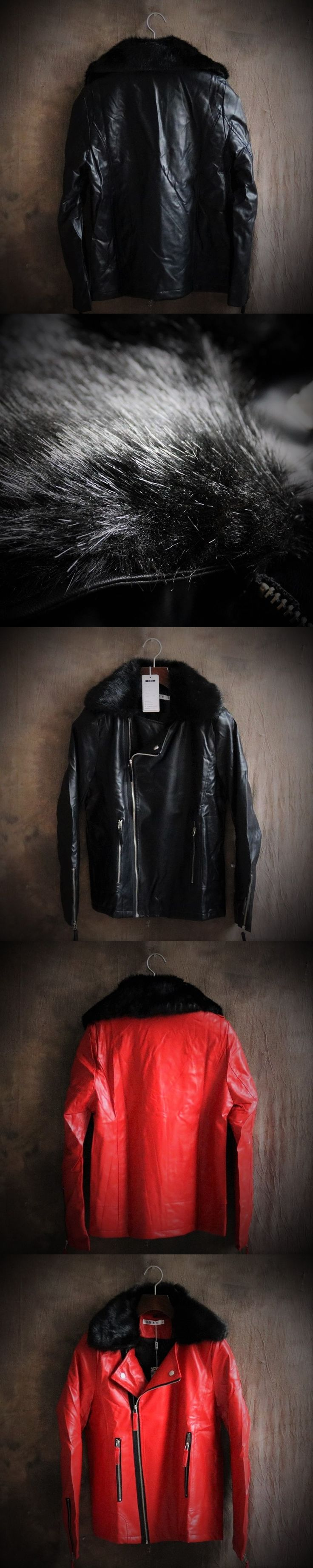 Pu Leather Jacket Men Faux Fur Coat Winter Leather Jackets For Mens Leather Bomber Motorcycle Jacket Cheap Leather Coats Luxury