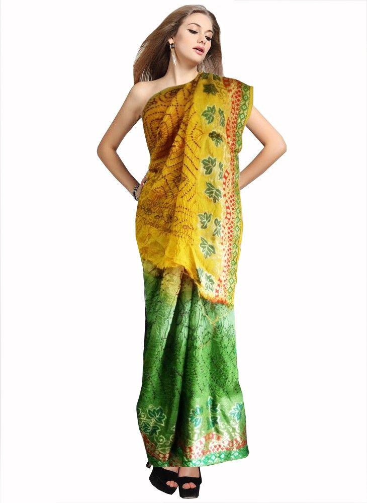 Green/Yellow Color Bandhni Saree