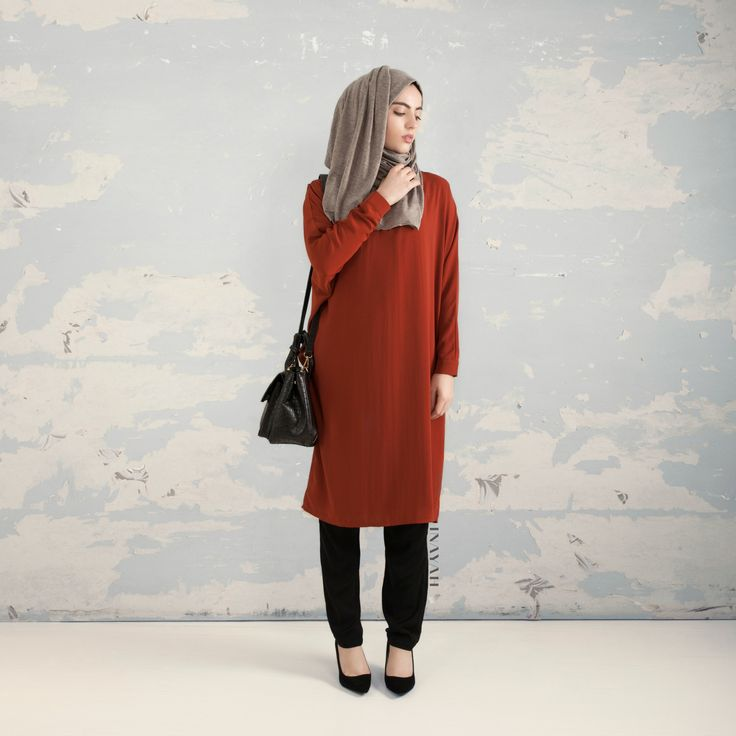 INAYAH | Rust Batwing Midi #Dress + Grey Jersey #Hijab + Black Crossover #Trousers  www.inayahcollection.com