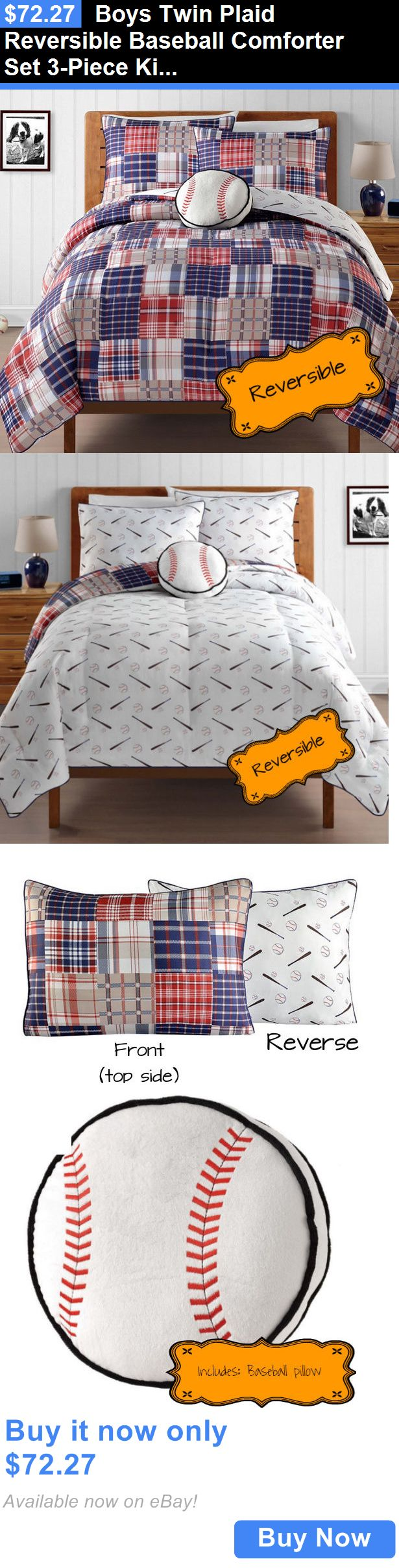 Nfl bedding for boys - Kids Bedding Boys Twin Plaid Reversible Baseball Comforter Set 3 Piece Kids Sports Bedding