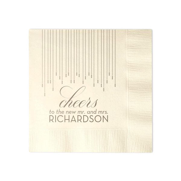 Custom Ivory Cocktail Napkins with Bleed with Shiny Champagne on ForYourParty.com