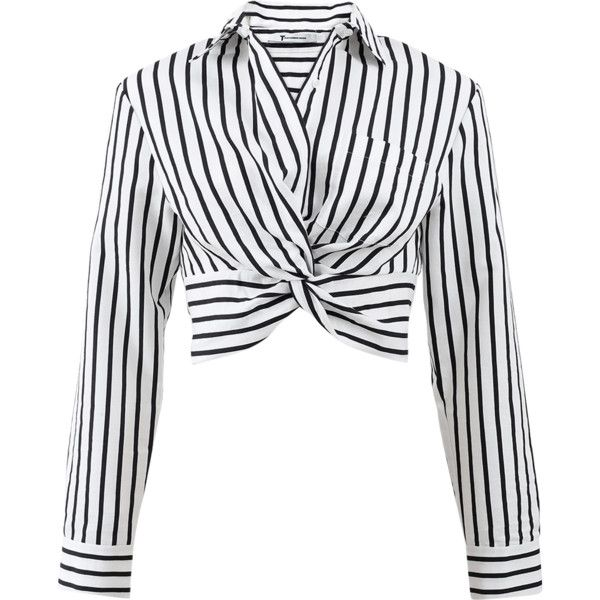 T By Alexander Wang Striped Twist Front Crop Shirt (925 BRL) ❤ liked on Polyvore featuring tops, crop top, shirts, alexander wang, black and white striped top, long tops, black and white crop top, black and white stripe shirt and collared crop top