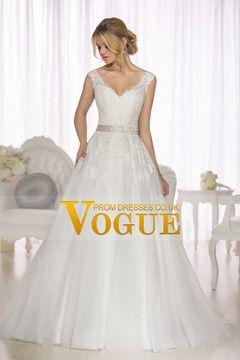 2015 de boda de Tulle vestidos con cuello en V una línea con apliques COP656621.03 VUPAHGS3Z2 - VoguePromDressesUK
