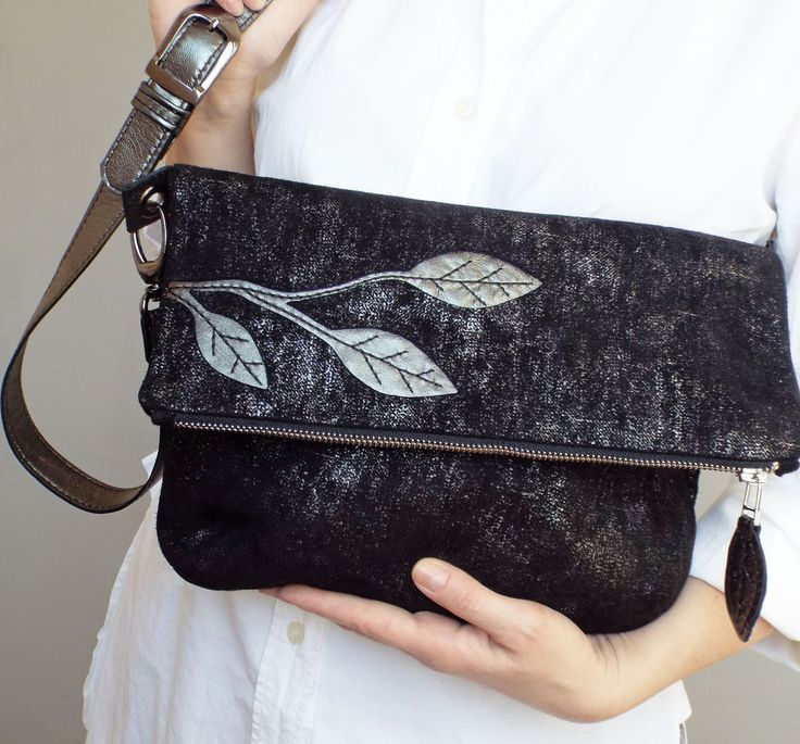 Black leather crossbody bag. Foldover cross body bag. Black / silver suede purse. | 5plus