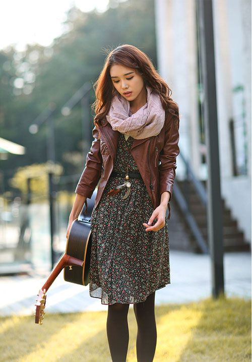 Floral dress, black tights, mahogany leather jacket, scarf