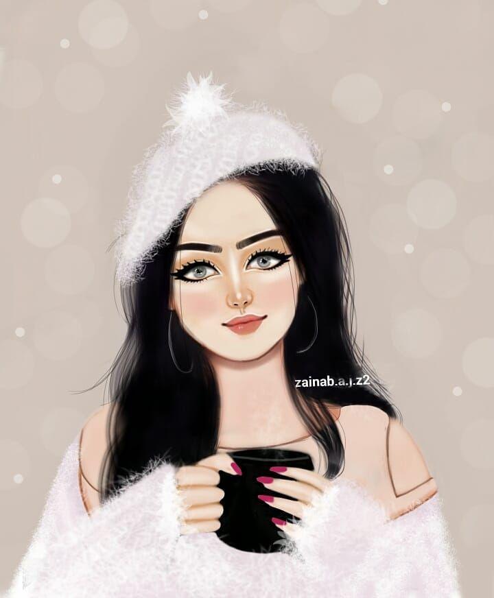 حسيت بأجواء الشتاء كلت لازم اغير Girly Drawings Beautiful Girl Drawing Girly Art