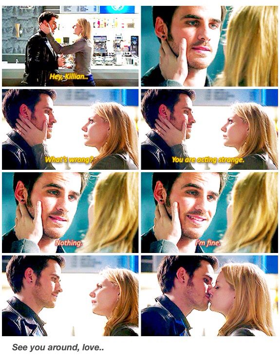 Emma and Killian (sort of). I wanted to give Colin an award after this scene for acting so contrived and like Gold himself. It kind of creeped me out and I was desperately hoping the whole time that Emma would figure out what was wrong.