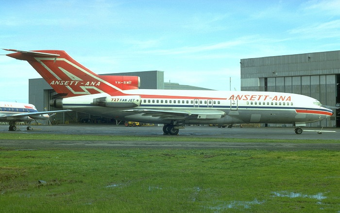 Ansett-ANA Boeing 727-77 VH-RMF at Melbourne-Essendon, June 1967. (Photo: J. Hopton)