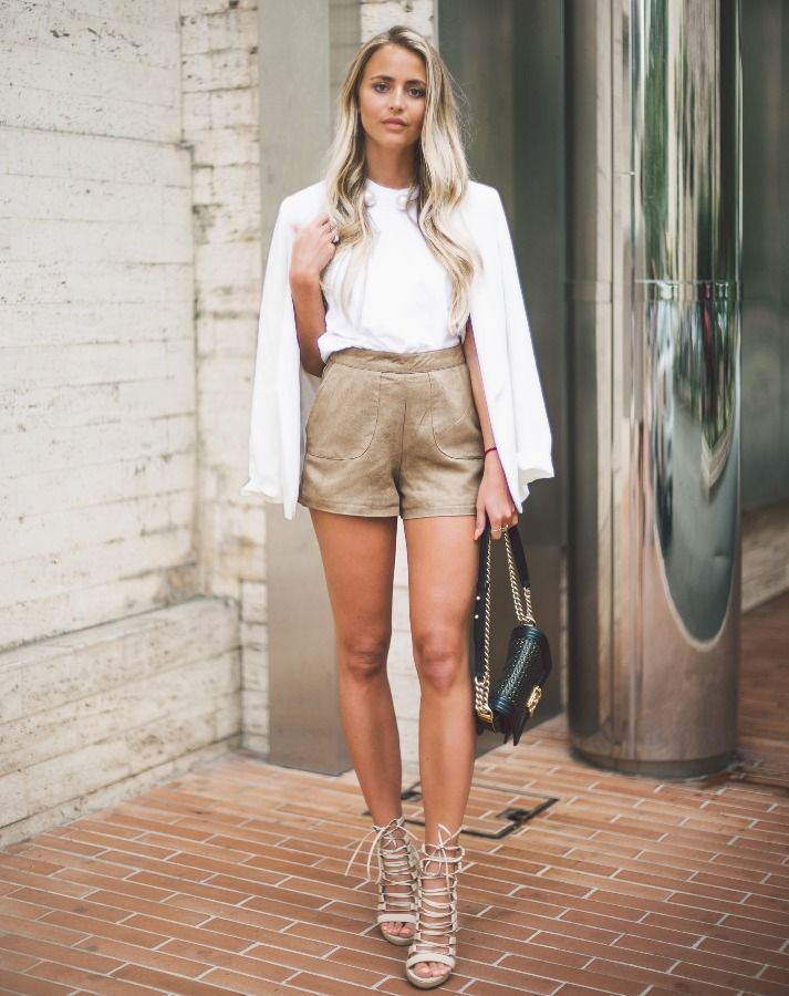 nude-shorts-with-white-top-and-blazer