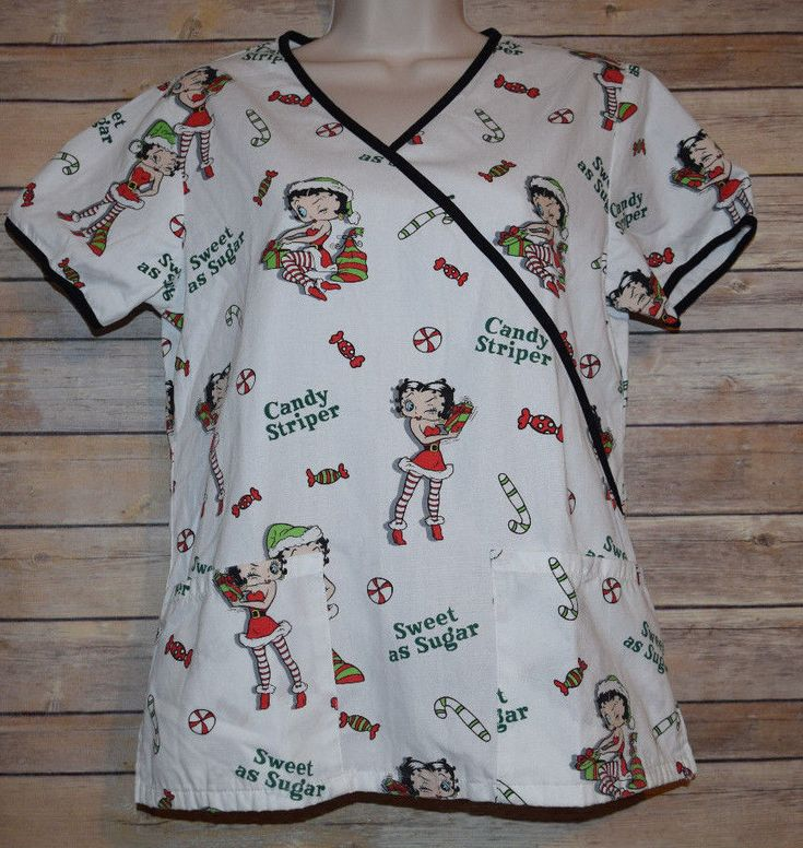 Betty Boop Scrub Top Christmas XS Nurse Uniform Shirt Sweet as Sugar Holiday   | eBay