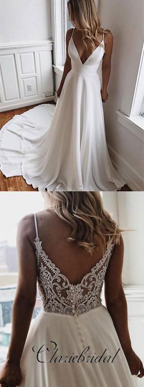 Spaghetti Lange A-Linie V-Ausschnitt Elfenbein Chiffon Spitze Brautkleider, beliebte Brautkleid – Ballkleider Ideen