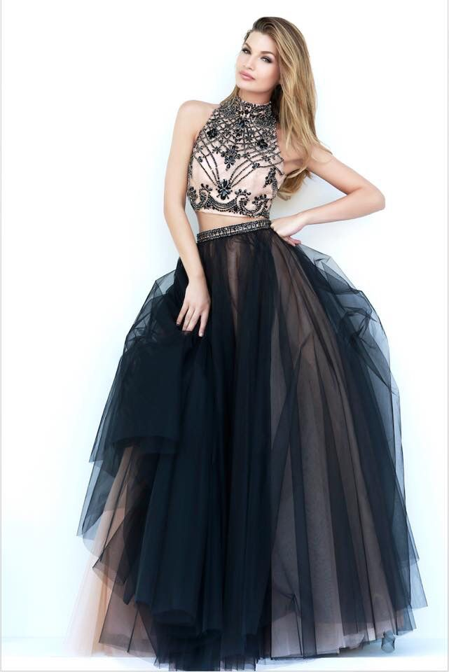 Sherri hill prom dress two piece black and nude