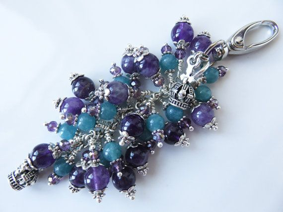 Check out this item in my Etsy shop https://www.etsy.com/uk/listing/470760670/purple-bag-charm-turquoise-and-purple