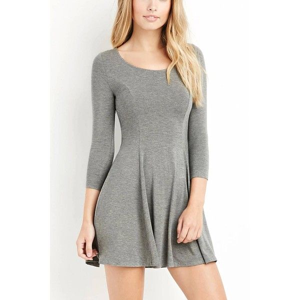 Yoins Grey Long Sleeve Mini Dress-Grey  S/M/L (375 MXN) ❤ liked on Polyvore featuring dresses, cocktail dresses, grey, long-sleeve mini dress, long sleeve short cocktail dresses, gray cocktail dress, short fit and flare dress and gray dress