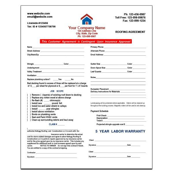 Roofing Agreement Form Roofing Invoice Template Word Printing Business