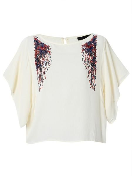 Women Short Batwing Sleeve O Neck Sequins Decoration Casual T-shirt