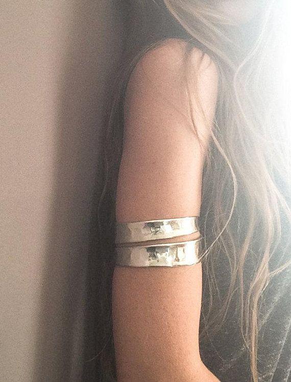 Silver Upper Arm Bracelet Wide Cuff Armlet Gypsy Boho Style Jewelry Forearm Y Adjule