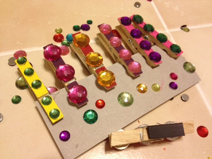 Small clothes pin magnets blinged out fun easy craft for Small magnets for crafts