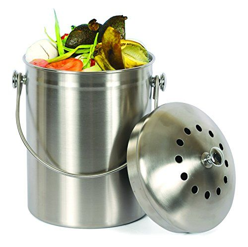 estilo stainless steel compost pail 1 gallon compost bin 2 free odor absorbing filters compost pailcompost