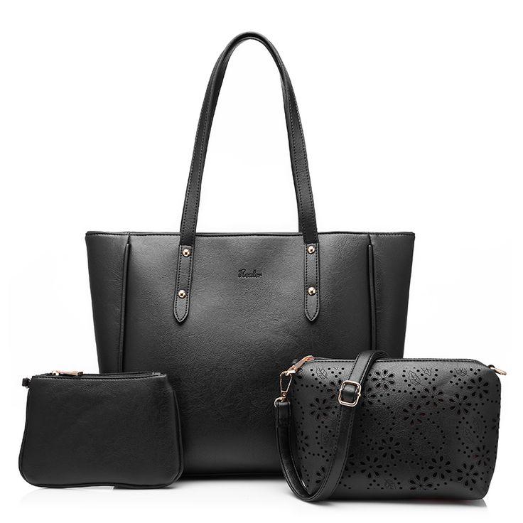 MAIS REAL marca mulheres bolsa 3 conjuntos artificial sólida sacola de couro grandes sacos de ombro das senhoras bolsas e bolsas em Bolsas Estruturadas de Bagagem & Bags no AliExpress.com | Alibaba Group