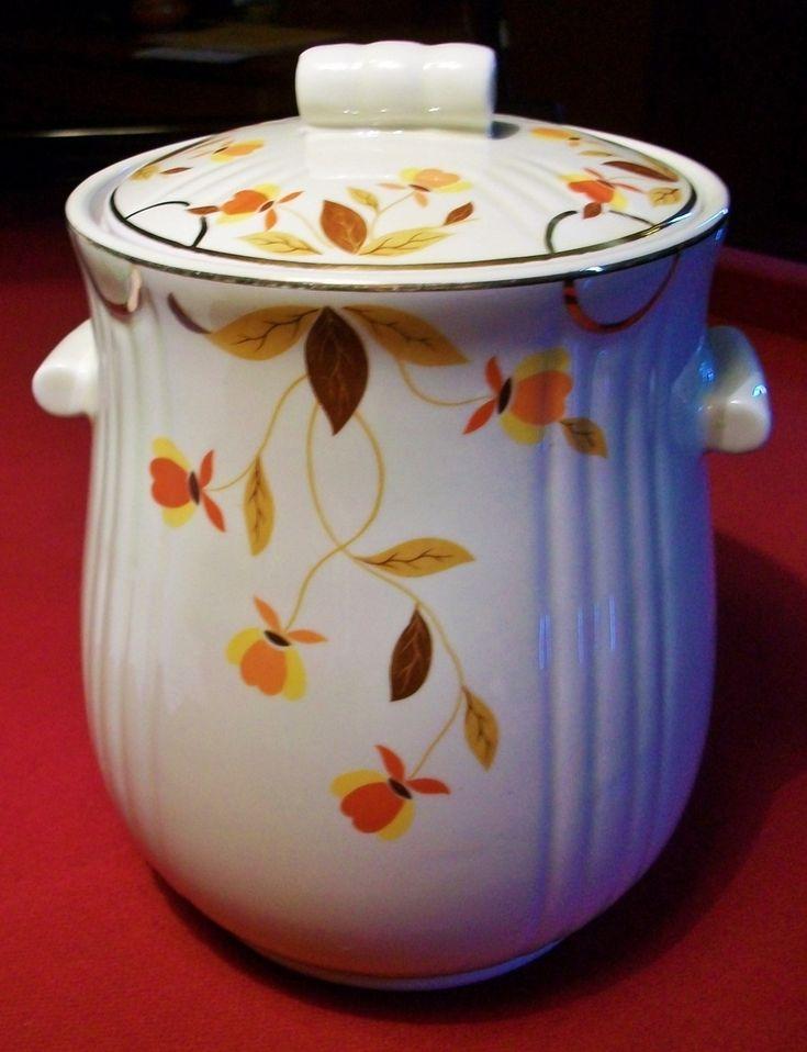 Hall Autumn Leaf Quot Jewel Tea Quot Rayed Cookie Jar Mary Dunbar