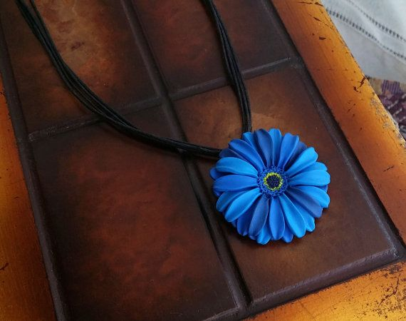 Blue Flower Polymer Clay Necklace  Blue by EvasCreationsShop