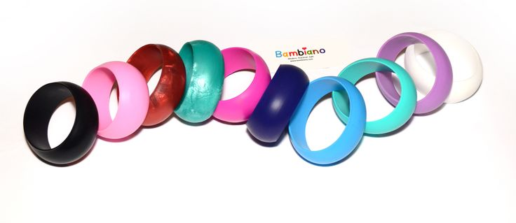 Bambiano Hoola Bangle collection. Available in 10 colours. Products are made of 100% Food grade silicone. BPA free, Lead free and nontoxic. Fashionable for Mums and safe for teething babies to chew on. Bracelets are washable and soft on baby's gums. Shop at www.bambiano.com