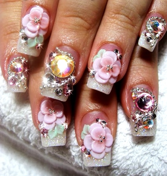 Cute 3D nail art design..