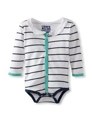 67% OFF Baby Back To Nursery Cardigan Bodysuit (Seafoam Stripe)