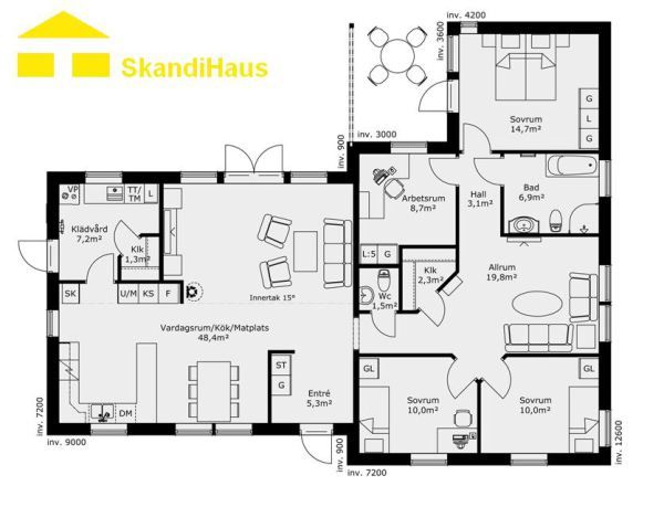 schwedenhaus skandihaus 1 geschossig 144 grundriss 144 7 hausideen pinterest schwedenhaus. Black Bedroom Furniture Sets. Home Design Ideas