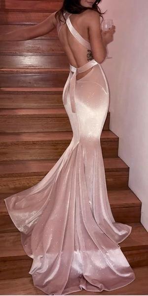 581fe8fdf33ab Gorgeous V Neck Mermaid Pink Velvet Elegant Sexy Long Prom Dresses ...