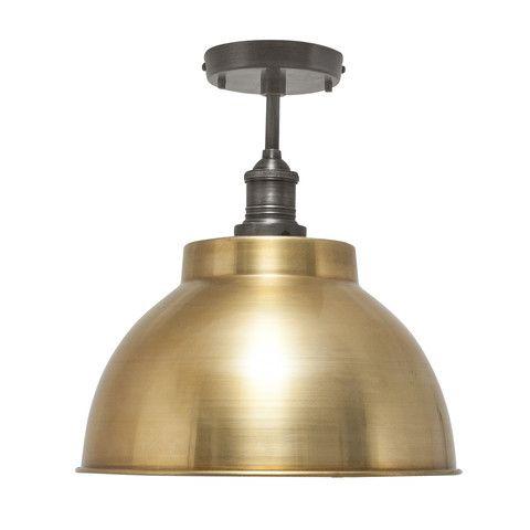 Brooklyn Vintage Metal Dome Flush Mount Light - Brass - 13 inch