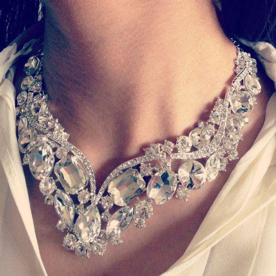 CLEARANCE SALE-Swarovski Crystal Wedding Jewelry Set, Vintage Inspired Rhinestone Bridal Statement Necklace,OOAK Bridal Bib Necklace