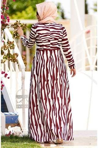Nesrin Emniyetli Metropol Elbise 2160098 Beyaz-Kahve