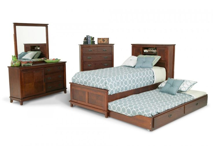 Dresser, Mirror, Chest, Twin Bookcase Bed & Twin Trundle Unit