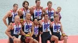 GB men's eight rowers celebrating Olympic bronze medal at London 2012