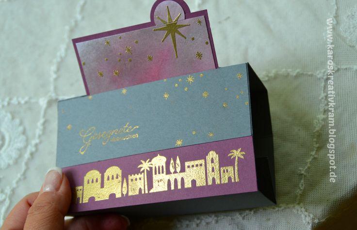 Free Standing Pop Up Card, Stampin Up, Bethlehem, Stern, Feige, Gold, Orient, Weihnachten, Karos Kreativkram
