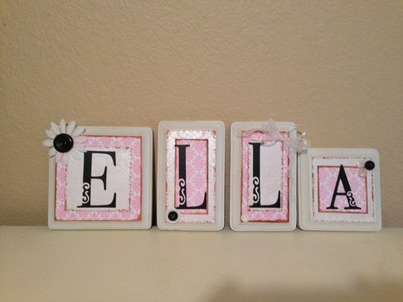 wood letter blocks, personalized/custom baby name letters, baby gift, girl nursery decor, name letters, kid /child wall art, pink, white on Etsy, $7.00