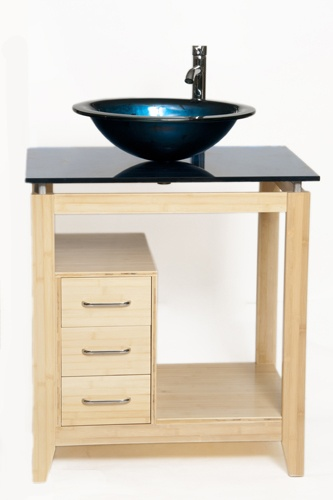 Photo Gallery For Photographers Bionic Cappuccino Bamboo Vanity Set with Designer Series Ocean Blue glass vanity top and vessel sink