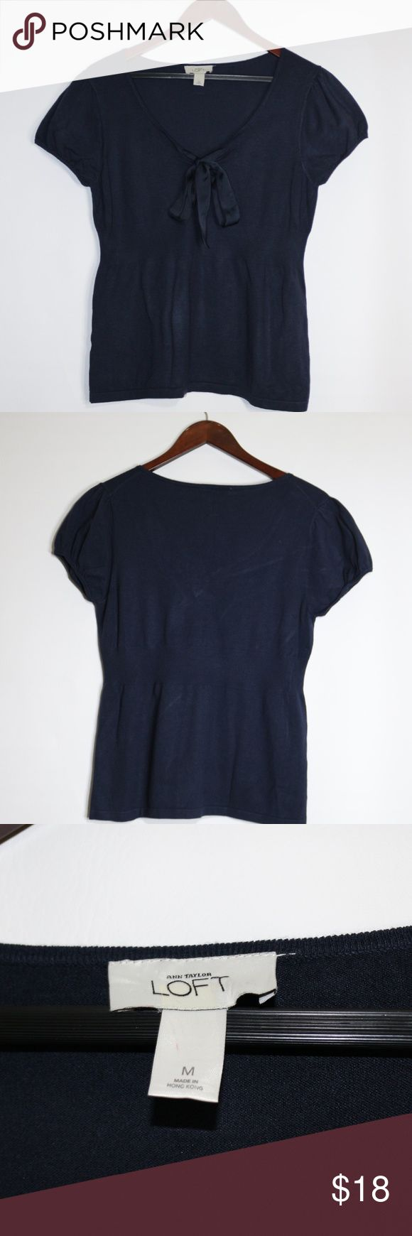 Anne Taylor LOFT navy blue casual blouse with knot Anne Taylor LOFT navy blue casual blouse with knot in womens made in hong kong  measurements chest:34in sleeve:6in length:24in  B-111 LOFT Tops Blouses