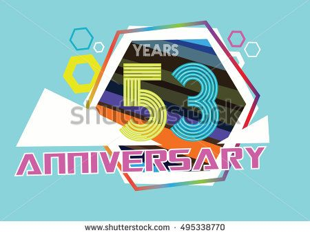 53 years anniversary logo with hexagonal shape and abstract color. anniversary logo for birthday, wedding, celebration and party