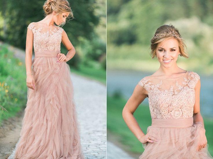suknia ślubna 2017, suknia ślubna w kolorze nude