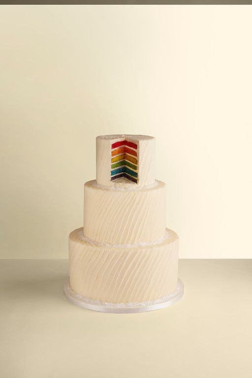 rainbow wedding cake - lOVE the plain and then BAM inside color  @slyouschak