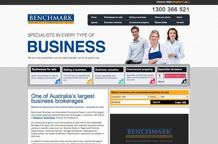 Benchmark Business And Commercial Sales website by Anna at Media Heroes