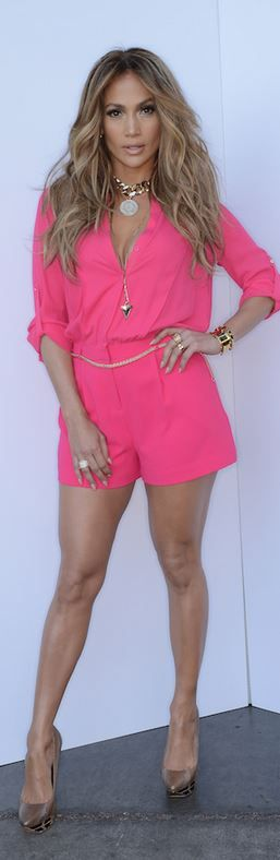 Jennifer Lopez in Kohl's pink romper, Givenchy silver necklace, and Ivy Kirzhner platform pumps