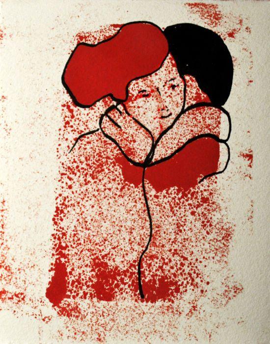 Andrea Chidichimo - Donna al bianco al rosso al nero  Titel en handtekening op de achterzijde.Olie met schellak en Indische inkt op katoen papier.185 x 15 cmZonder frame.In uitstekende conditie  EUR 40.00  Meer informatie