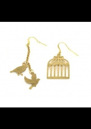 Bird and Cage Earrings