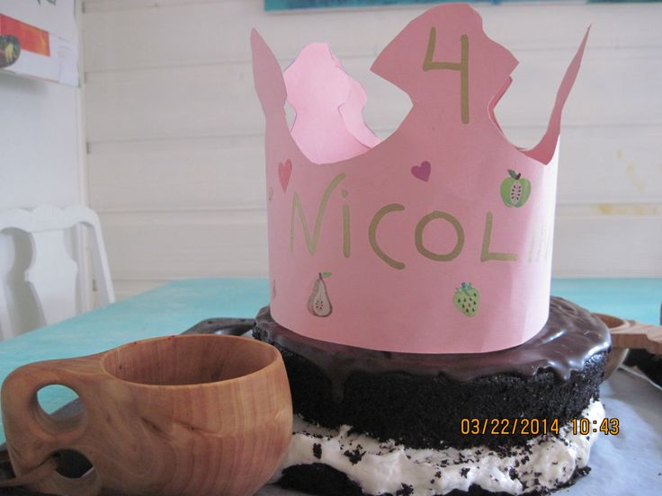 Ring Ding type chocolate birthday cake I made from scratch. Paper birthday crown on top